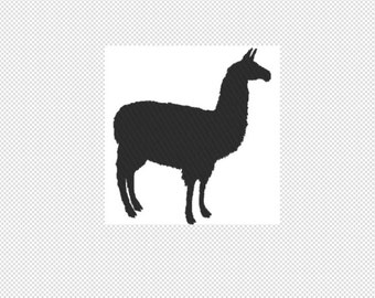 Solid llama Embroidery Design File - multiple formats - one color design - 2 sizes - instant download