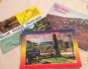 Old Blue Ridge Parkway Postcards Vintage Unused 1980s Mount Pisgah Inn Scenic Views Map Virginia North Carolina lcww