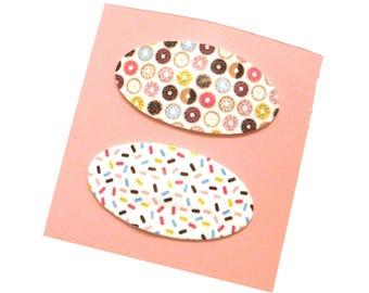 Donut Hair Clip | Sprinkles Hair Clip | Oval Fuax Leather Hair Clips | Donut Clip | Sprinkle Clip | Donut Print