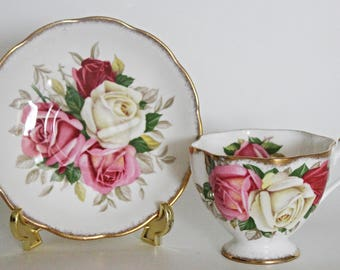 Queen Anne Bone China Teacup & Saucer Lady Sylvia Pink and Yellow Roses Excellent Condition