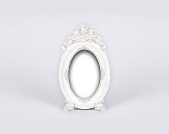 White Shabby Chic Photo Frame, Ornate Baroque Framed, Oval Picture Frame, Vintage Photo Frame, Antique Frame, Regency Style, English Cottage