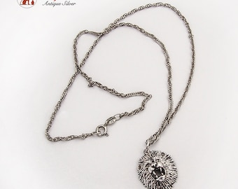 Lion Head Pendant Chain Necklace Sterling Silver