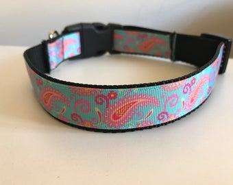 Aqua, Pink and Orange Paisley Print 1 inch Large Dog Collar