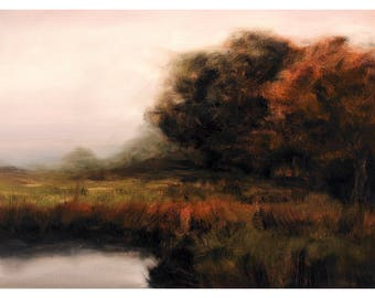 Fine Art Print Meadow Rural Mist Fog Dawn Oil Painting Signed A3 A4 Giclee High Quality Vibrant Impressionist Landscape Countryside Scene
