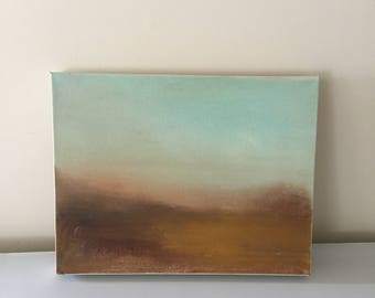 Landscape -Autumn Minimalist-  Original Oil Painting-11 x 14 Thick 1-1/2 painted Edge- Ready to Hang