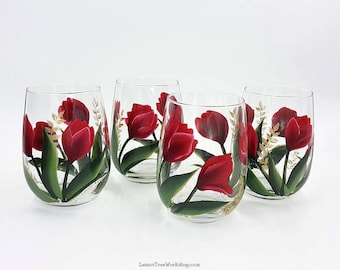 Hand Painted Tulip Wine Glasses Set of 4 Red Spring Tulip Stemware with Gold Accents