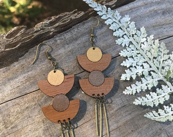 Wooden Earrings - Gold Luxe
