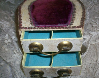 Victorian pincushion sewing box in purple silk velvet with drawers