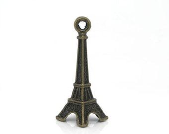 SET of 3 charm eiffel tower paris color bronze (R27)