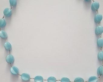 light blue glass bead necklace