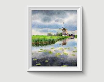 Kinderdijk the Netherlands  Painting Postcard Poster Art Print Q167