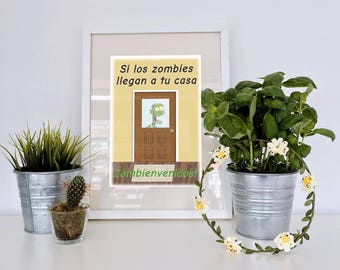 Funny Spanish Zombie Art Print | Printable Art | Instant Download Art | Spanish Class | Classroom Poster