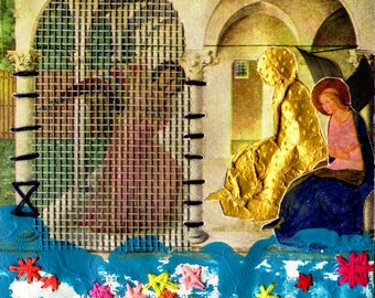 Small Paper Collage, Fray Angelico Revisited, Renaissance Art, Art Postcards, Post Modernist Art, Colorful Assemblage, Mixed Media Collage