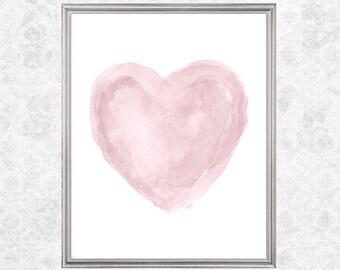 Dusty Rose Nursery Art, 8x10 Watercolor Heart, Dusty Pink Decor, Pastel Nursery, Pink Nursery Decor, Rose Pink Nursery, Pink Wall Decor