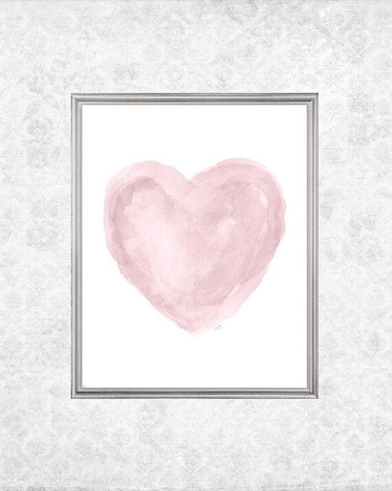 Rose Nursery Art, 8x10 Watercolor Heart in Dusty Pink