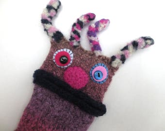 """Smartphone monster """"Birgit"""" cellphone case iphone 4s, xperia Z 1 compact, s 5 mini bag, felt, sleeve, knitted, cellphone, felted, wool case"""
