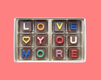 Valentines Gift for Him Anniversary Gift for Her Fiancee Gift for Romantic Unique Gift I Love You More Jelly Bean Chocolate Cube Letters