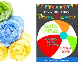 Pool Party Birthday,  Pool Birthday Party Invitation,  Pool Birthday Party,  Summer Birthday Party,  Birthday Invitation,  Water Party
