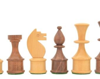 "Reproduced Vintage Soviet Series Chess Set in Sheesham / Box Wood - 3.5"" King. SKU: R0308"