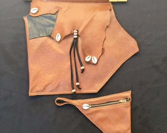 Unique Handmade Leather Purse w/ Matching Coin Purse - Original Ethnic Bag !