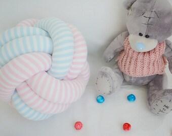 SPHERE KNOT PILLOW, knot pillow, nursery pillow, kids pillow, home decor cushion, striped pillow, kick pillow ball, baby shower gift