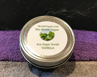 Vegan All Natural Organic Facial Sugar Scrub 4oz  | VANILLA | Handmade with ONLY Organic Ingredients | No Artificial Color or Preservatives
