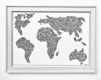 Zentangle world map print a3 zentangle world map print 2 a3 gumiabroncs Images