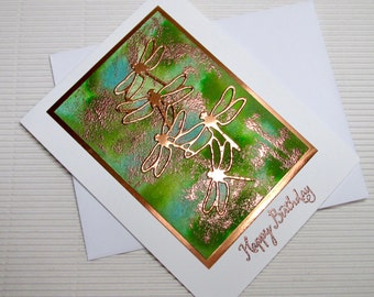 Happy birthday dragonfly card handmade stamped die cuts blank stationery greeting card party supplies paper