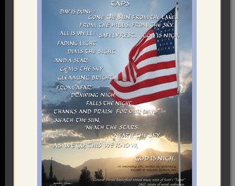 Taps, played at military funerals by bugle. Words rarely sung. Hand-lettered by Jacqueline M. Shuler