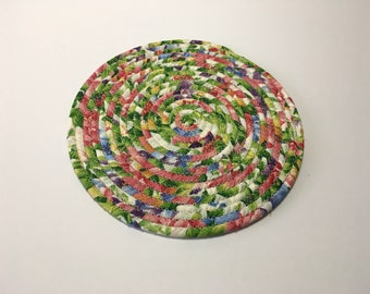 Floral Print Coiled Rope Trivet, Fabric Hot Pad, Flower Print Candle Mat, Quiltsy Handmade