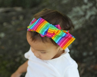 Baby Head Wrap, Toddler Head Wrap, Baby Top Knot Headband, Rainbow Head Wrap, Rainbow Headwrap, Modern Baby Headwrap, Baby Bow, Rainbow Baby