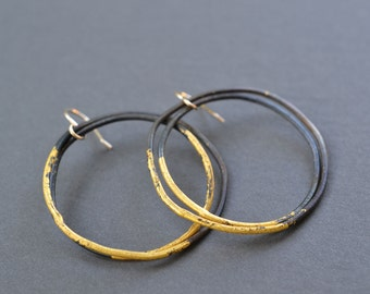 Steel & Gold Thick Hoop Earrings- black and gold large hoops, gold dipped, hand hammered hoops, hand forged, blackened steel, gypsy earrings