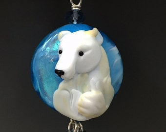 Polar Island handmade lampwork focal Polar Bear bead pendant SRA