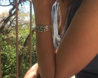 Womens Sterling Silver Bangle, Cuff Chain Bracelet - Spring Diva - Swarovski Crystal Sterling Silver Chain Link Wrap Bracelet