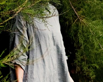100% Linen Moss 3/4 sleeve Dress, hand made in London, sustainable, artisan, fashion