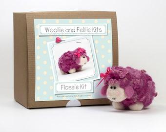 Sheep Needle Felting Kit-Felting gift-Needle Felting Kit-Woollie and Feltie Kit,Flossie Kit