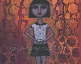 "9"" x 12"" Poem Painting - ""Wake"" - Fine Art Giclee Print - Found Poetry, Black Hair School Girl, Orange Purple Halloween, Word Wall Decor"