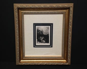 """Rembrandt ? Art Etching Drawing Print God Heaven, Hell - Frame 14 x 12.75"""""""