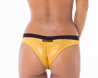Astra Brazilian cut scrunch butt Bikini bottoms  -  Gold/Black