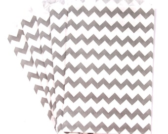 10 Gray Medium Chevron Paper Food Safe Craft Favor Bags by Whisker Graphics