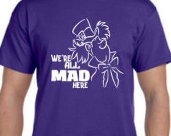 Mad Hatter Disney Shirt, , Alice Disney Shirt, Womens Disney  Shirt, Mens Disney Shirt, Kids Disney Shirt