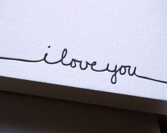 I love you, letterpressed card