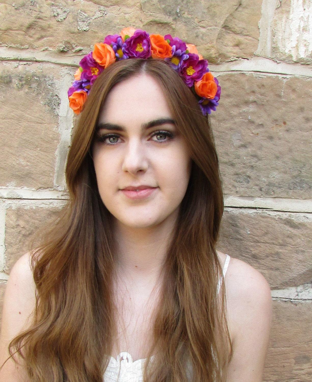 Frida Orange Purple Rose Daisy Flower Hair Crown Headband
