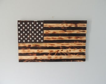 Burnt Wood Handmade Flag