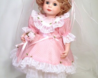 Flower Girl Porcelain Doll | 14 inch Jointed Hard Body | Handmade in 1992