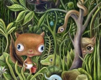 Big Eye Art Print, Jungle Painting, Animal Art, Lowbrow Art , EVK