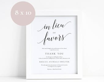 Wedding donation sign, In lieu of favors signs, Printable wedding donation signs, Elegant typography, Rustic weddings, Donation sign in lieu