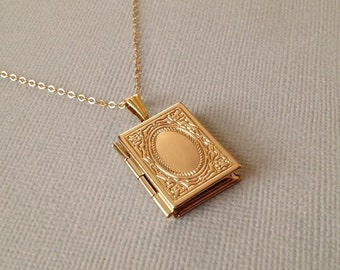 Book locket etsy gold locket necklace gold locket necklace with gold fill chain gold book locket a lovely gift aloadofball Choice Image