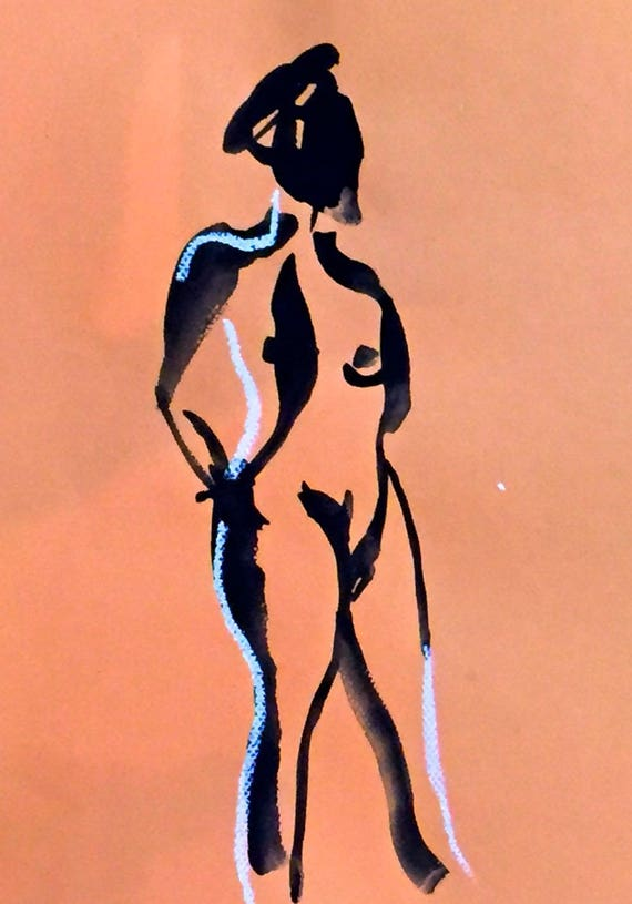 Nude painting of One minute pose 111.10 ,nude art, original, gesture sketch by Gretchen Kelly