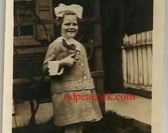 Little girl vintage photo toy rabbit bunny hare bow smiling dress Edwardian Evelyn